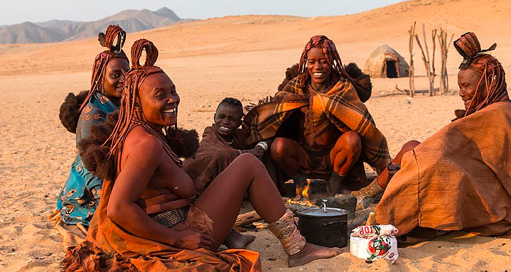 The local Himba people benefit from the community partnership with Wilderness Safaris that  is Serra Cafema Camp